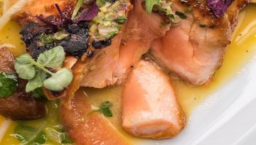 Rezept: Miso-Lachs, Orange & Shii Take